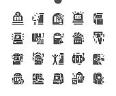 Slot machine. Gambling game. Rolling drums. Coin in hand. Casino and gambling industry. Entertainment area. Winning. Vector Solid Icons. Simple Pictogram