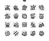 Traditional Japanese cuisine. Sushi rolls set in a variety of japanese food. Soy sauce, wasabi, pickled ginger. Menu for restaurant and cafe. Vector Solid Icons. Simple Pictogram