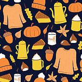 Autumn forest illustrations. Cartoon style digital drawings. Fall leaves, coffee, tea-kettle, cozy sweater, candle, cake, chestnuts, beanie, acorn, and pumpkin. Vector graphics.