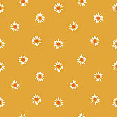 Daisies / chamomile floral pattern on mustard yellow. Ditsy floral print. Cheerful nature background with tiny flowers.