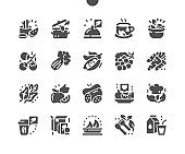 Healthy food for humans. Selection of healthy food. Fruits, berries and vegetables. Food shop, supermarket. Menu for restaurant and cafe. Vector Solid Icons. Simple Pictogram
