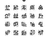 Space exploration, space technology to explore outer space. Science fiction and astronomy. Space, cosmonaut and galaxy. Vector Solid Icons. Simple Pictogram
