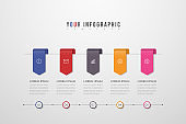 Vector Infographic design with icons and 5 options or steps. Can be used for presentations banner, workflow layout, process diagram, flow chart. Vector illustration.