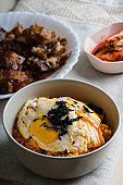 kimchi fried rice with fried egg and nori