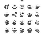 Set of soups. Meat soup, fish soup, chicken soup. Dishes, food. Vegetable soups and ingredients. Menu for restaurant and cafe. Vector Solid Icons. Simple Pictogram