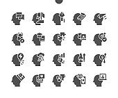 Human thoughts. Creative minds. Man head, mind thinking. Different ideas. Target, dreaming, finance, success and imagination. Vector Solid Icons. Simple Pictogram