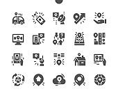 Global navigation and maps. Telecommunication technology concept with satellite dish connection. Location. Vector Solid Icons. Simple Pictogram