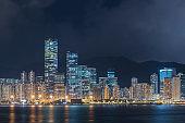 Skyline of Hong Kong city