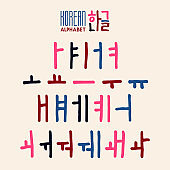 Korean alphabet set in hand drawn style