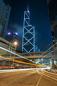 traffic in downtown district of Hong Kong city
