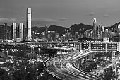 Skyline and highway of Hong Kong city