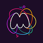 M letter neon line colorful logo.