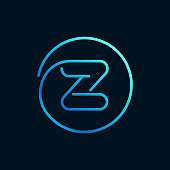Z letter logo in a circle. Impossible line style.