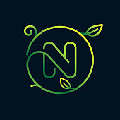 N letter leaf logo in a circle. Impossible one line style.