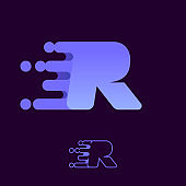 Fast speed letter R logo with lines and dots.
