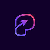 Arrow letter P multimedia and play line logotype.