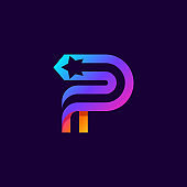 Letter P logo with star inside. Vector parallel lines icon.