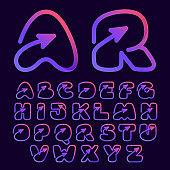 Arrow multimedia and play line alphabet.