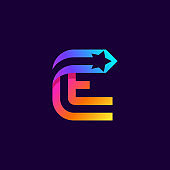 Letter E logo with star inside. Vector parallel lines icon.