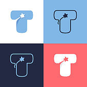 T letter logo set consisting of comet tail and negative space star icon.