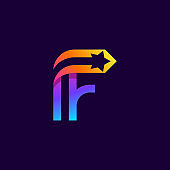 Letter F logo with star inside. Vector parallel lines icon.