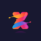 X letter logo with vibrant wave gradient shift.