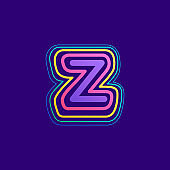 Colorful line Z letter logo.