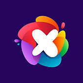 Letter X logo at colorful multicolor gradient splash.