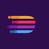 Letter D speed lines logo design template.