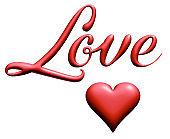 Love, Red 3d letter, script font, 3d illustration