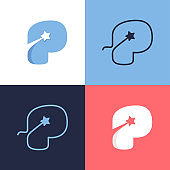 P letter logo set consisting of comet tail and negative space star icon.