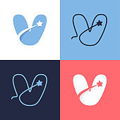 V letter logo set consisting of comet tail and negative space star icon.