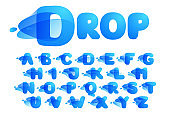Alphabet made of clear water and dew drops.