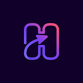 Arrow letter H multimedia and play line logotype.