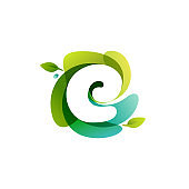 Letter E ecology logo on swirling overlapping shape.