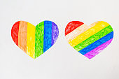 Two hearts in lgbtq colrs on white background, top view