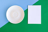 Empty plate and mockup  blank on color background. Copy space for the text. Minimal concept