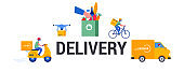 Safe online delivery during the coronavirus pandemic - online order tracking, delivery door to door, home and office. Warehouse, truck, drone, scooter and bicycle courier, delivery man in respiratory mask. Vector illustration