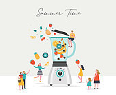 Summer scene, group of people having fun around a huge blender, surfing, swimming in the pool, drinking cold beverage, playing on the beach
