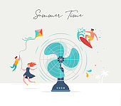 Summer scene, group of people having fun around a huge fan, surfing, swimming in the pool, drinking cold beverage, playing on the beach
