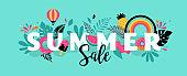 Summer sale banner template. Vector background