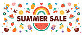 Summer sale, banner design with fruits, ice cream, rainbow, watermelon and cocktails