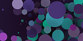 Abstract colored background from spheres of different sizes. 3d rendering