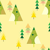 Abstract repeating Christmas background. Seamless Christmas tree pattern