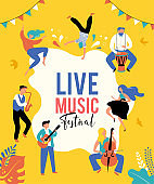 Summer fest, concept of live music festival, jazz and rock, food street fair, family fair, event poster and banner. People dance and play music. Vector design and illustration