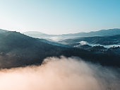 Mountains and fog in the morning,The forest in the morning from Above