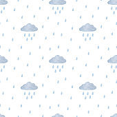 Cute seamless pattern with blue clouds and raindrops