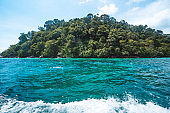 Island tour by long tail boat,Long-tailed boat in the blue sea go to lipe island