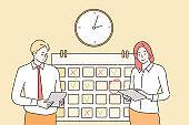 Time management, multitasking, teamwork, business concept