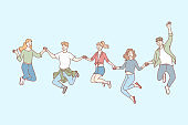 Jumping people, friendship, leisure set concept